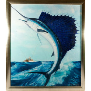 """Leaping Sailfish"" by Marshall ? Anderson Oil on Canvas"