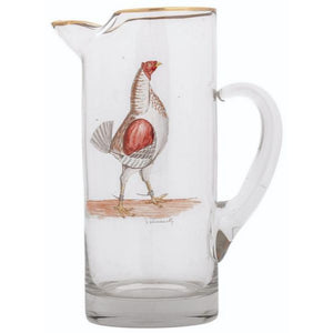 Abercrombie & Fitch Glass Cocktail Pitcher w/ Hand-Painted Hen by Frank Vosmansky