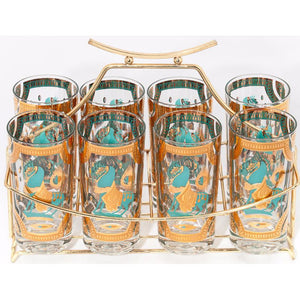 Set of 8 Equestrian Theme Bar Glasses