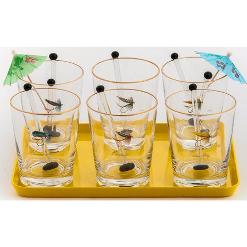 Set of (6) Trout Fly Old-Fashioned Bar Glasses