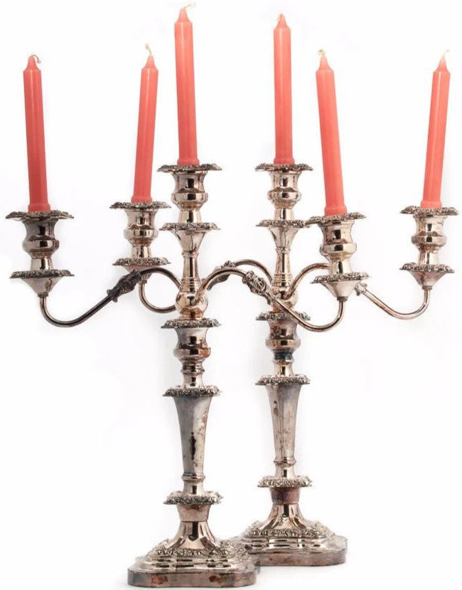 Pair of Sheffield Silver English Tri-Candelabras