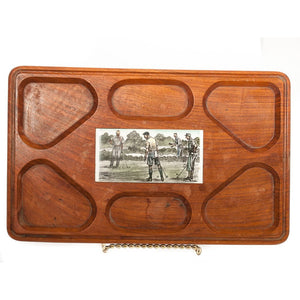 Paul Desmond Brown Maple Serving Tray w/ Porcelain Golfer Plaque