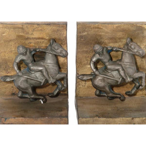 'Bronze Polo Player Bookends'