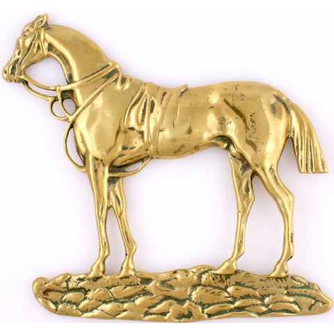 """English Brass Racehorse Plaque"""