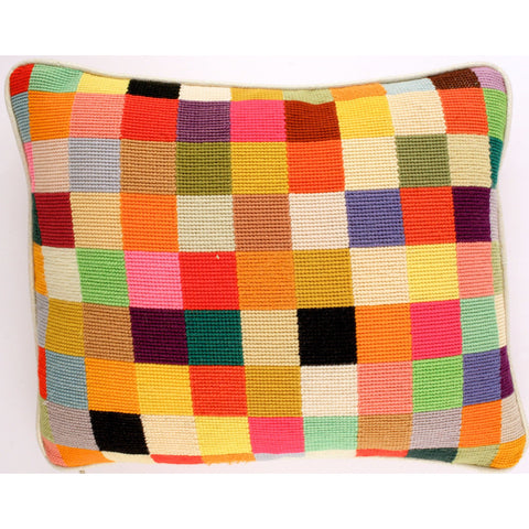 """Patchwork Needlepoint Pillow"""