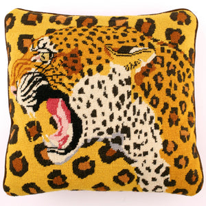 Needlepoint Leopard Print Pillow