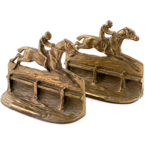 """English Steeplechase Brass Bookends"""
