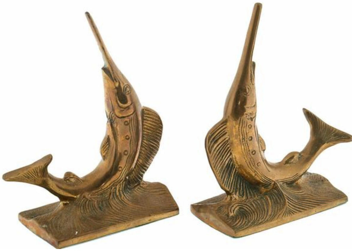 'Leaping Marlin Brass c.1930's Bookends'