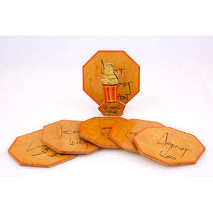 Set of 6 Wooden Stacking Octagonal Cocktail Time Ray Reen Coasters