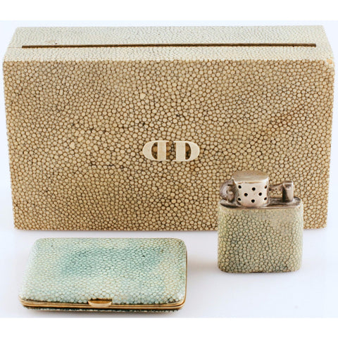 """Shagreen 'DD' Cigarette Case/ Lighter/ & Compact"""