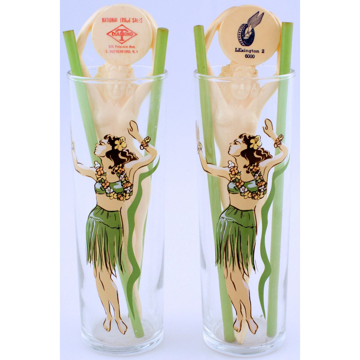 Pair of 'Hula Girls' Highball Cocktail Glasses