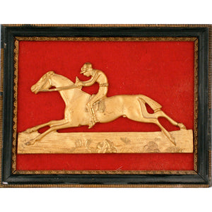 English Brass Jockey 1930's Relief