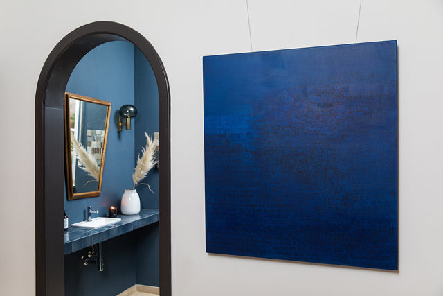 Charlotte vindevoghel abstract painting blue at alexia werrie gallery art in a house tervuren