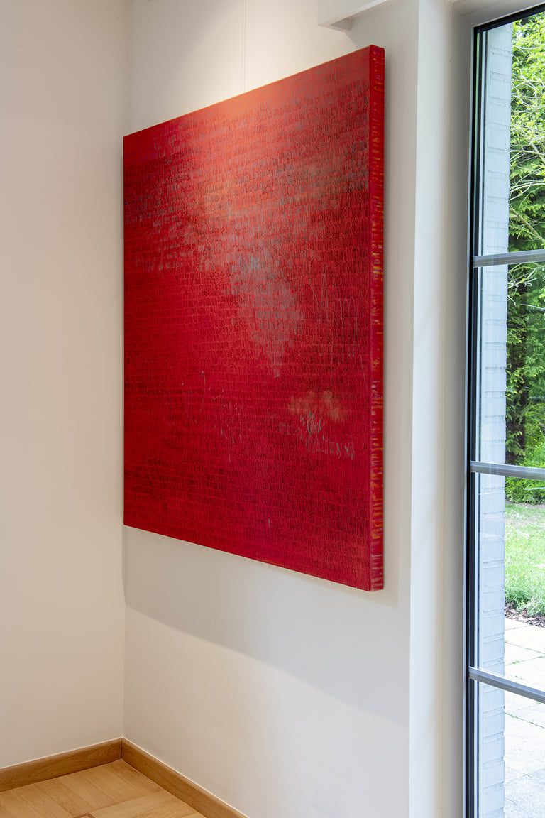 Charlotte Vindevoghel artist abstract painting red Sienne, 2019 130 x 120 cm alexia werrie gallery art in a house brussels belgium contemporary art