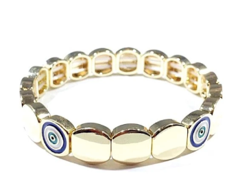 Tile Bracelet - Round Evil Eye Gold