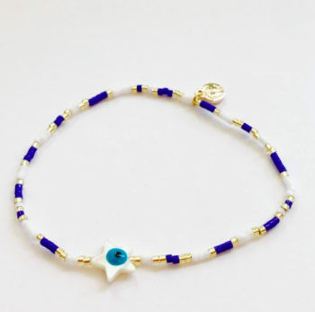 Seed Bead Star Evil Eye Stretch Bracelet
