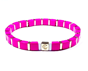 Tiny Tile Bracelet - Gold/Hot Pink