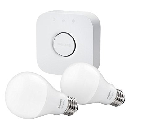 Philips Hue White A19 60W Equivalent Starter Kit (Compatible with Amazon Alexa, Apple HomeKit, and Google Assistant)