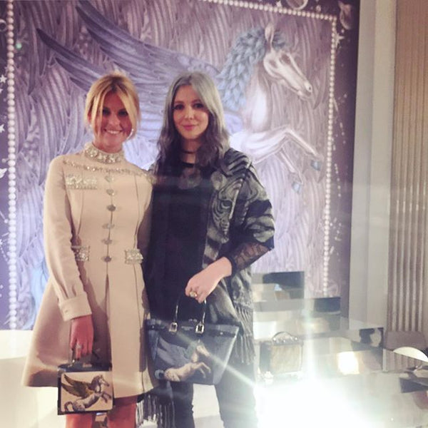 Left: Emma J Shipley with Mariya Dykalo from Aspinal of London at the London Fashion Week AW16 Presentation