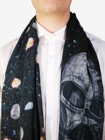 Left and right: The Vader Long Wool Scarf features a hand-drawn illustration of Darth Vader morphing into the Death Star. The styling versatility of this scarf makes the perfect men's Christmas gift for a Star Wars fan.