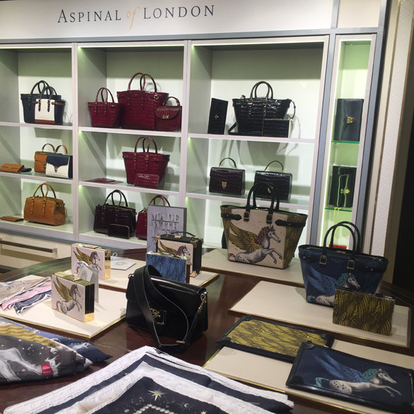 Left and right: The beautiful collaborative collection, on display in Harrods.