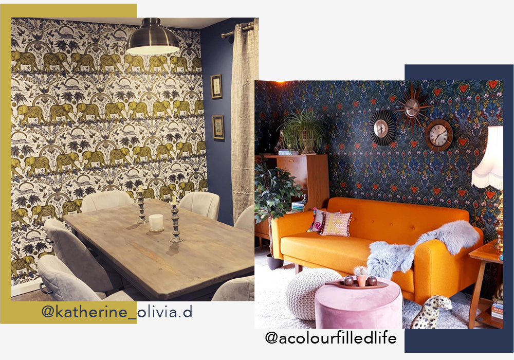 Just updating one wall in your home with luxurious colourful patterned wallpaper can bring new life to space