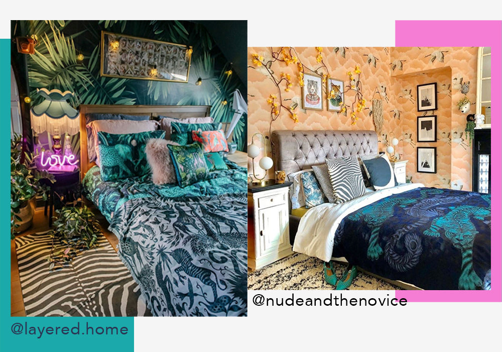 Indulge in a true maximalist look by creating a patterned, colourful scheme using our striking bedding, prints, wallpaper, fabric, cushions and throws. All of our pieces have been designed to complement each other beautifully to be mixed-and-matched.