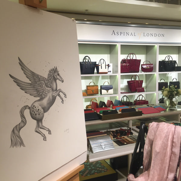 Left and right: The Pegasus illustrations are featured on a vast range of bag styles.