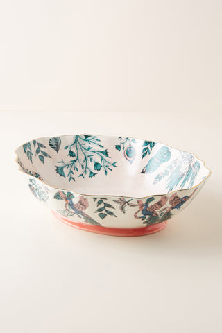 Featuring an intricate pattern of plumes and vines, part of the popular Amazon design, this serving bowl was designed by Emma J Shipley in collaboration with Anthropologie.