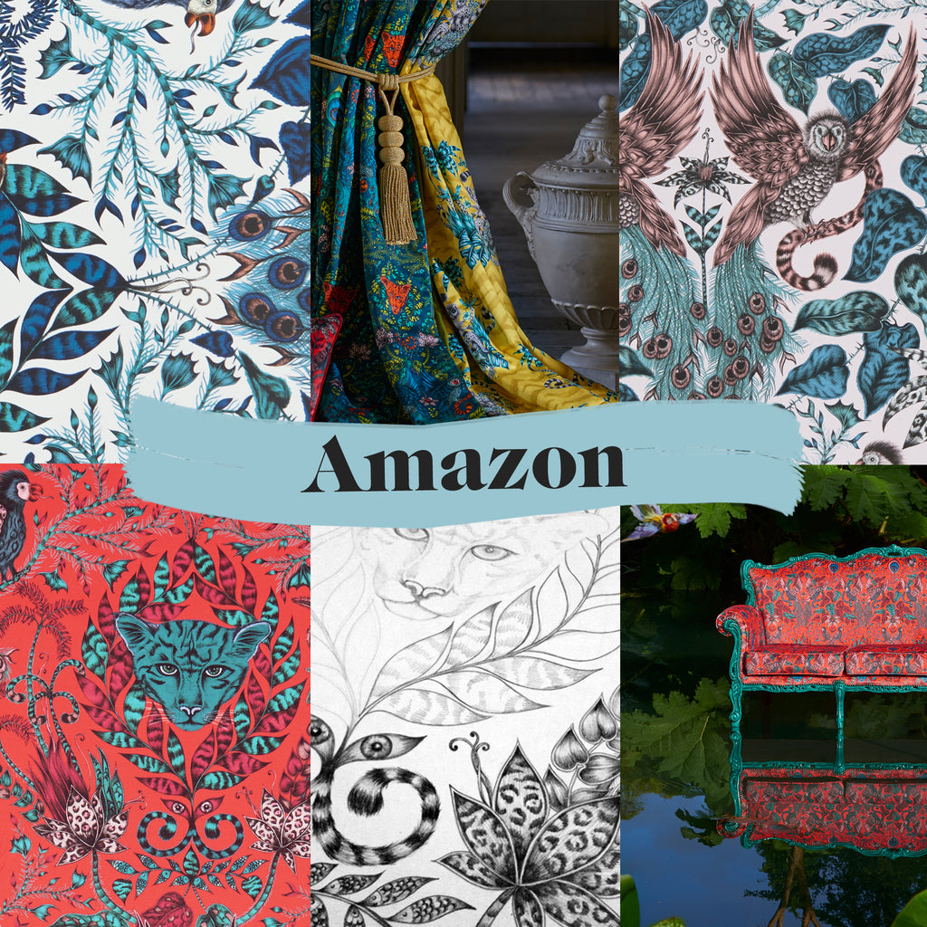 Exciting previews of the Amazon fabric and wallpaper, including magical campaign imagery and original drawings by Emma