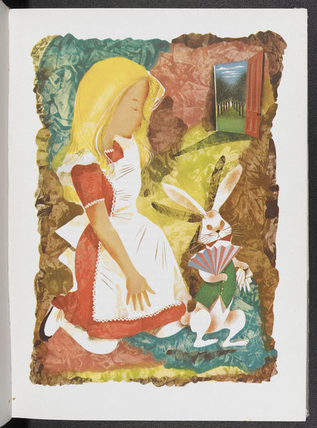 Left: An illustration of Alice with the White Rabbit from an illustrated edition of Alice's Adventures in Wonderland by Leonard Weisgard (1949) (c) The Estate of Leonard Weisgard.      Right: Illustrated music cover of 'The Wonderland Quadrilles...for Pianoforte' composed by Charles Marriott in 1872, showing scenes from Alice's Adventures in Wonderland (c) British Library