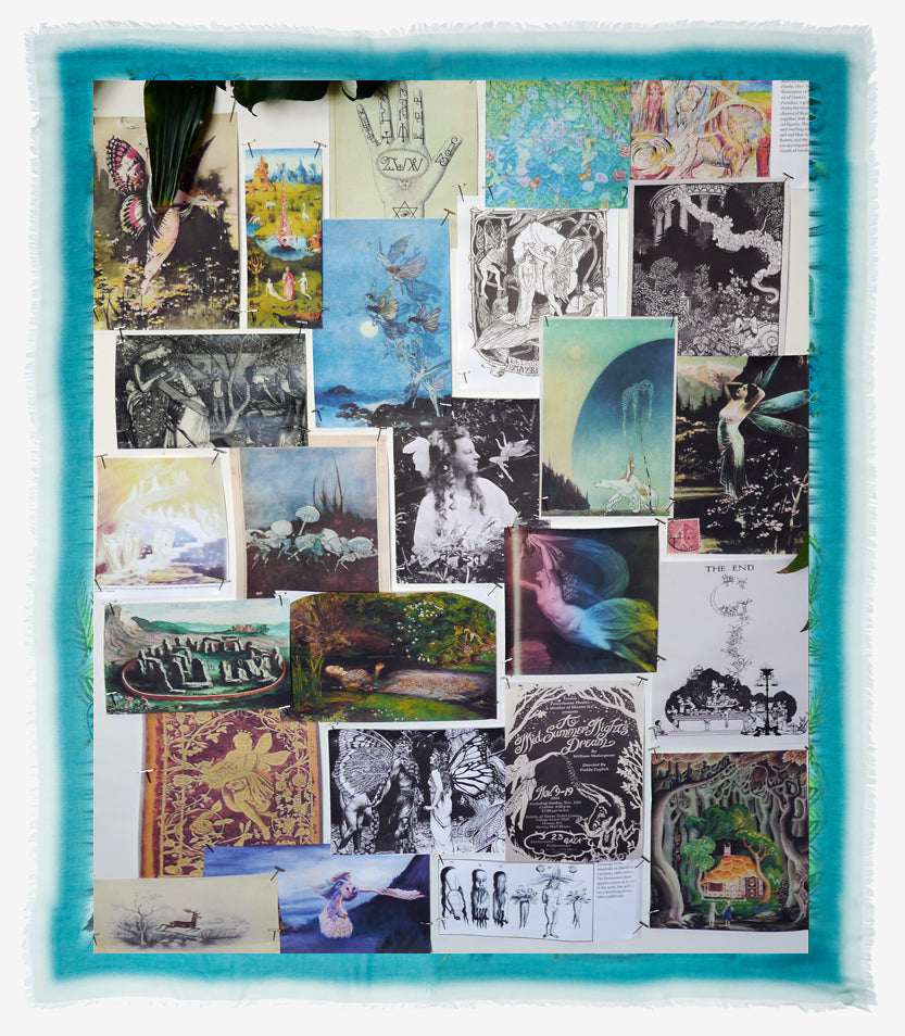 Discover Emma J Shipley's mood board behind the Elven design; inspiration was drawn from Victorian fairy tales, Pre-Raphaelite paintings and vintage illustrations