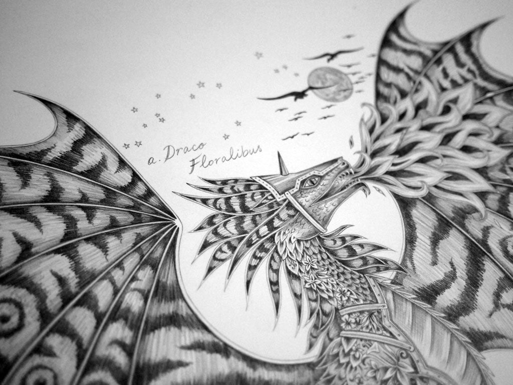 Detail from the original Emma J Shipley Drakon pencil drawing.