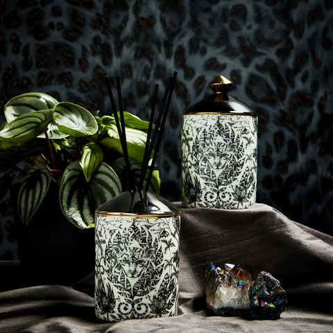 On the Left - the Amazon scented Candle and Diffuser, created to evoke the jungle dreamworld behind the Amazon design, with juicy notes of ripening fig set on a fresh yet woody base of cedarwood creating a playful melange of aromas. On the right - The Lynx scented Candle and Diffuser, with exuberant and seductive notes of Tuberose and Gingerlily, set on an Amber and Musky base which takes you on a truly magical fragrance adventure.