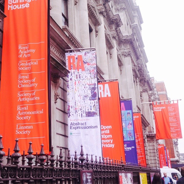 Left: Banners decorating the outside of Burlington House, advertising the exhibition. Right: Two stunning paintings by Mark Rothko.