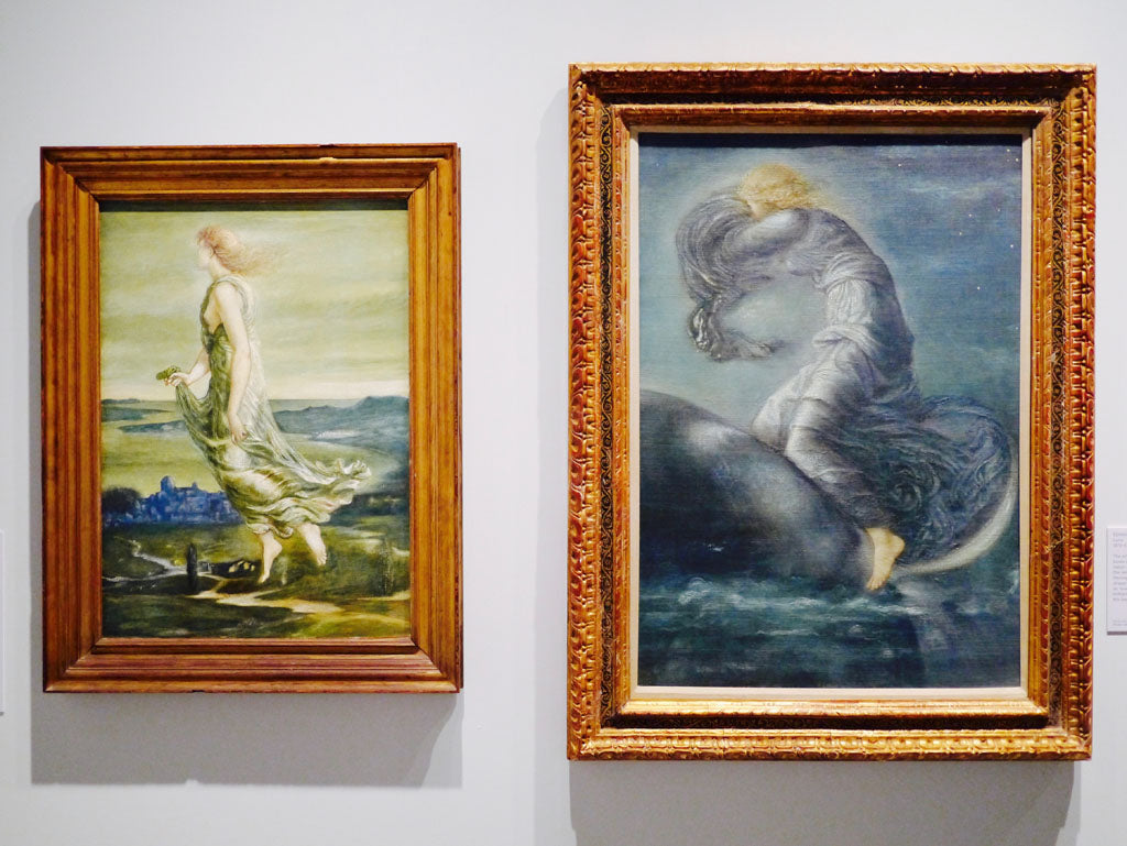 On the left is the romantic watercolour called Evening, 1870, and right is called Luna, oil on canvas, 1872-5 - both by Edward Burne-Jones (1833-98)