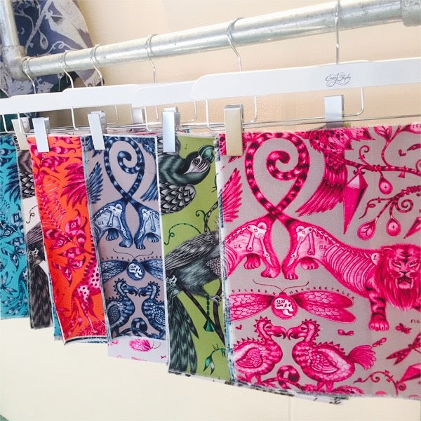 Left and right: Our latest collection of fabrics on display at our stand at LuxuryMade.