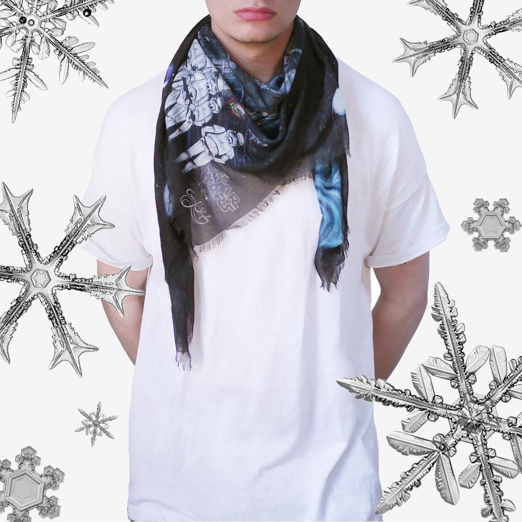 The Vader Cotton Blend Scarf looks great when wrapped around the neck, exuding style and warmth.