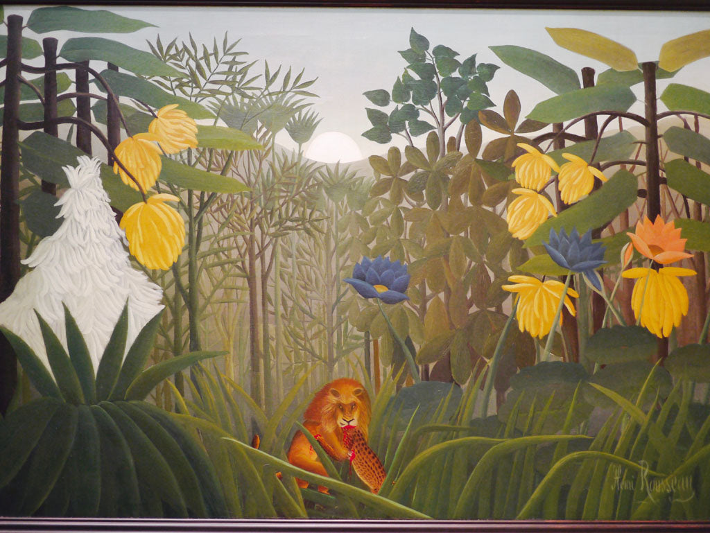 Right: Henri Rousseau, 'The repast of the lion', ca. 1907, oil on canvas.