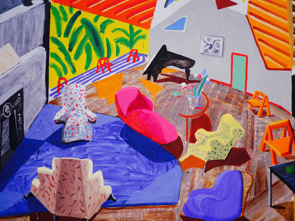 Right: David Hockney, 'Large interior, Los Angeles', 1988, oil and ink on cut-and-pasted paper on canvas