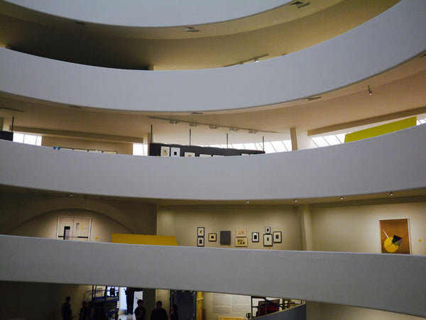 Left: Inside the Guggenheim gallery, New York Right: The Empire State building