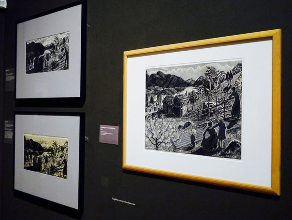 Left: Nikolai Astrup, 'Sandalstrand', 1917. Black and white woodcut on paper. Right: Nikolai Astrup, 'Marsh Marigold Night', c.1915. Black and white woodcut with was on paper.