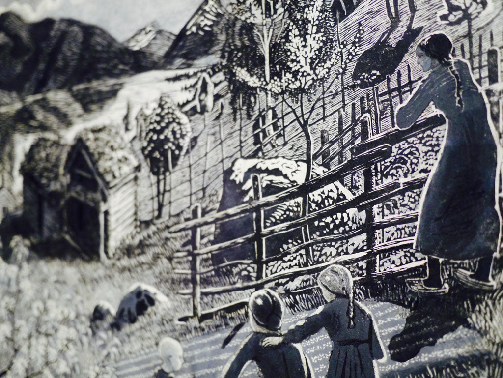Detail from Nikolai Astrup's 'Sandalstrand', 1917. Black and white woodcut on paper.