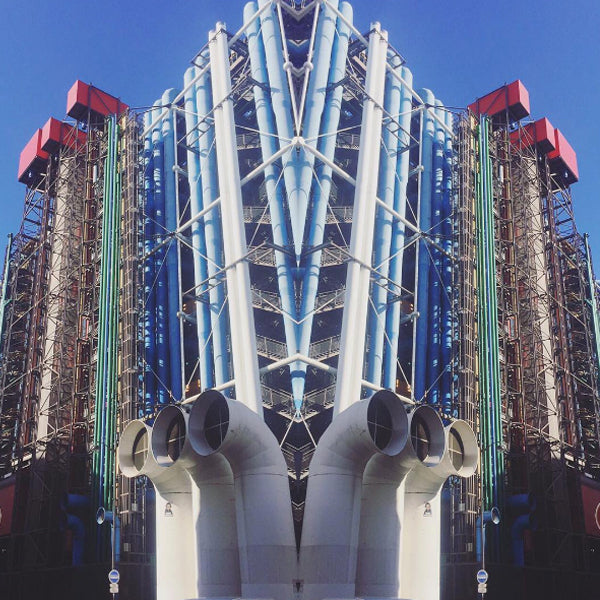Left: A mirrored view of the outside of the Pompidou, intensifying the arresting structures. Right: René Magritte's beautiful painting named The Cut-Glass Bath (1964) featured within the Pompidou.