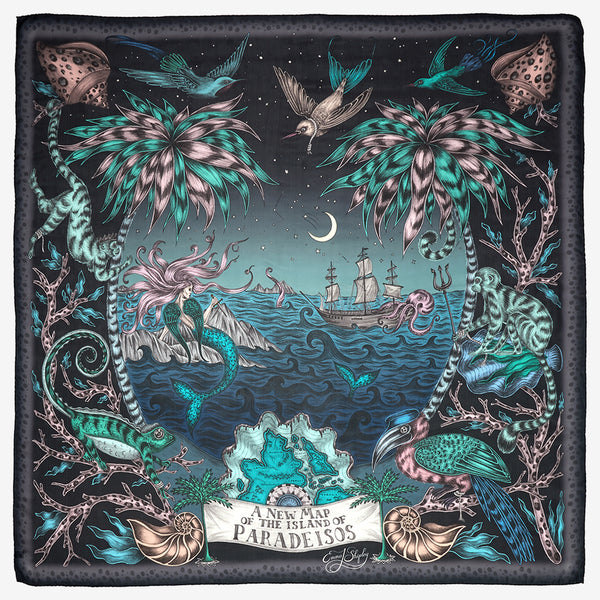 Left: The Sirens design in Anthracite, featuring magical mermaids and exotic creatures. Right: The Neptune design in Blue, depicting a curious flamingo surrounded by undersea life.