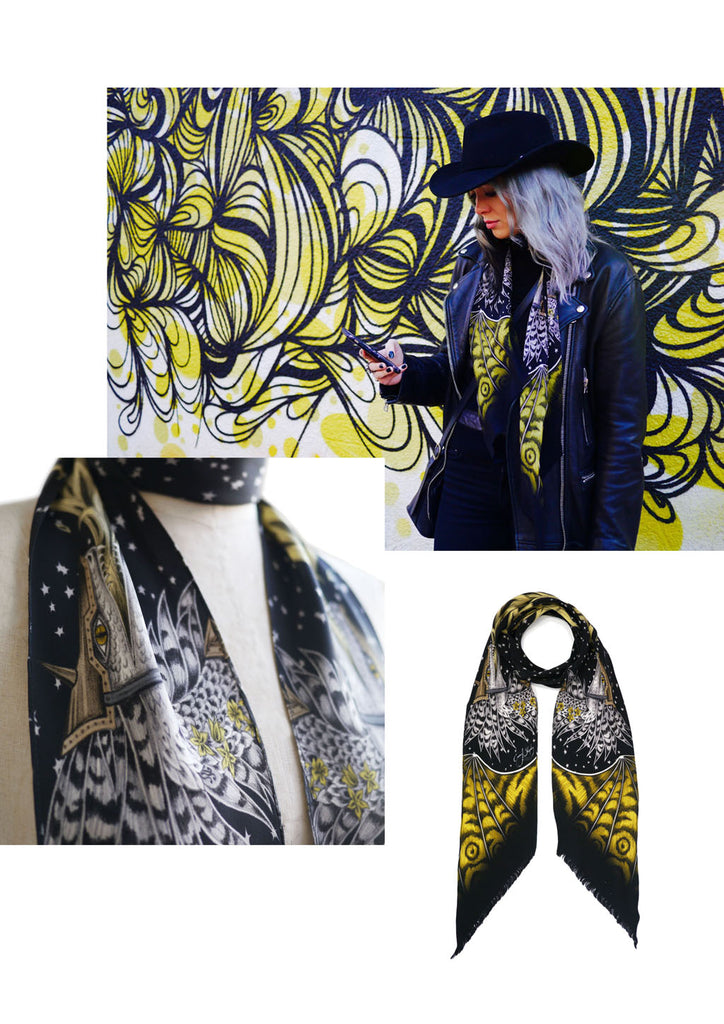 Emma J Shipley styling the Drakon skinny scarf in black