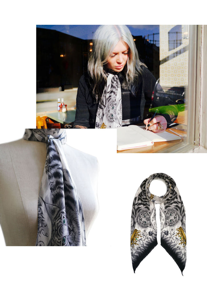 Emma J Shipley in the grey Shadowcats skinny silk scarf