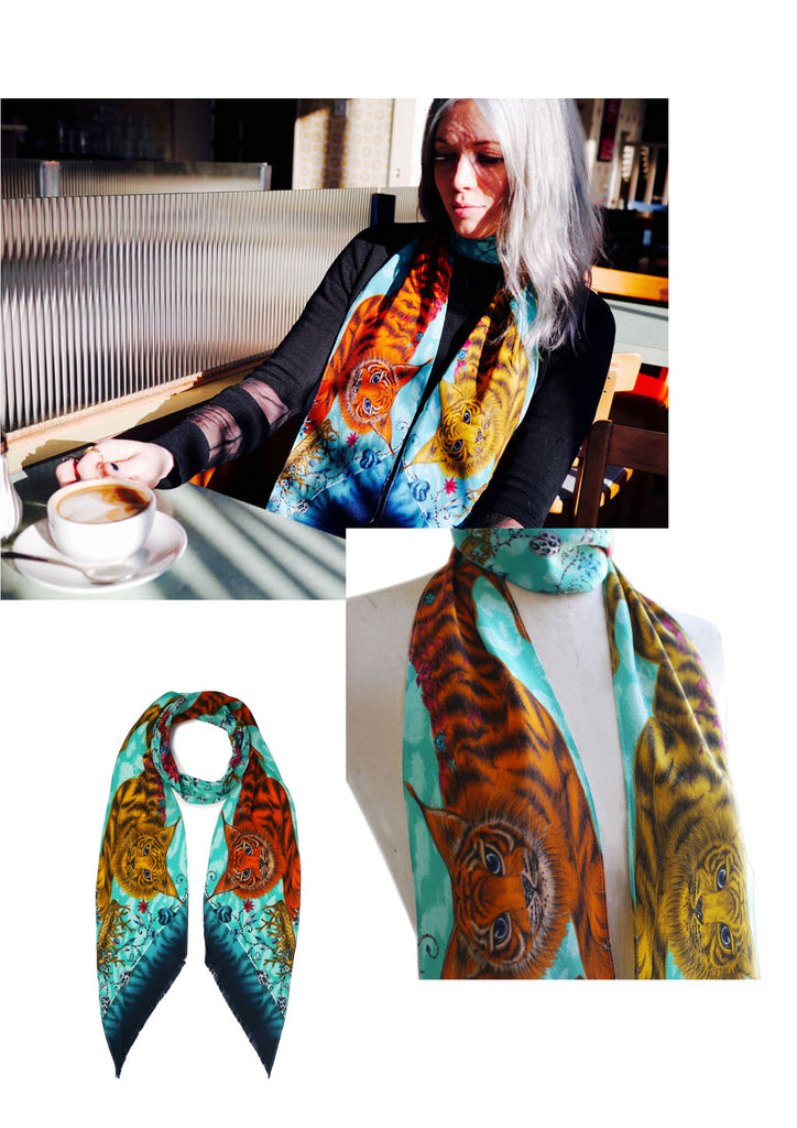 Emma J Shipley wearing the Shadowcats skinny scarf in turquoise