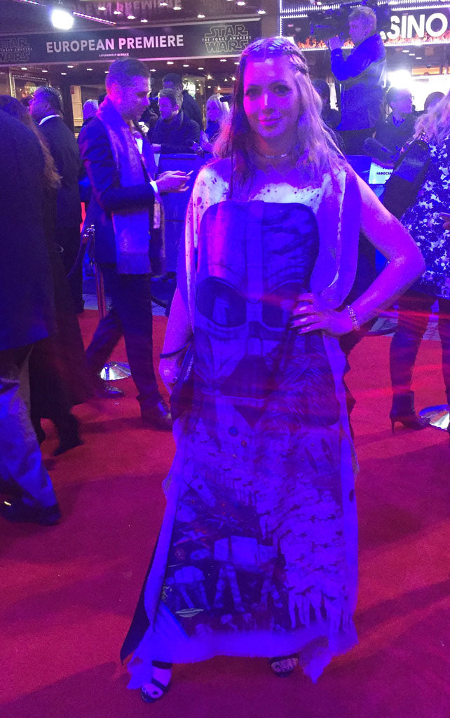 Striking a pose on the red carpet in the bespoke Vader gown, made by Rejina Pyo.