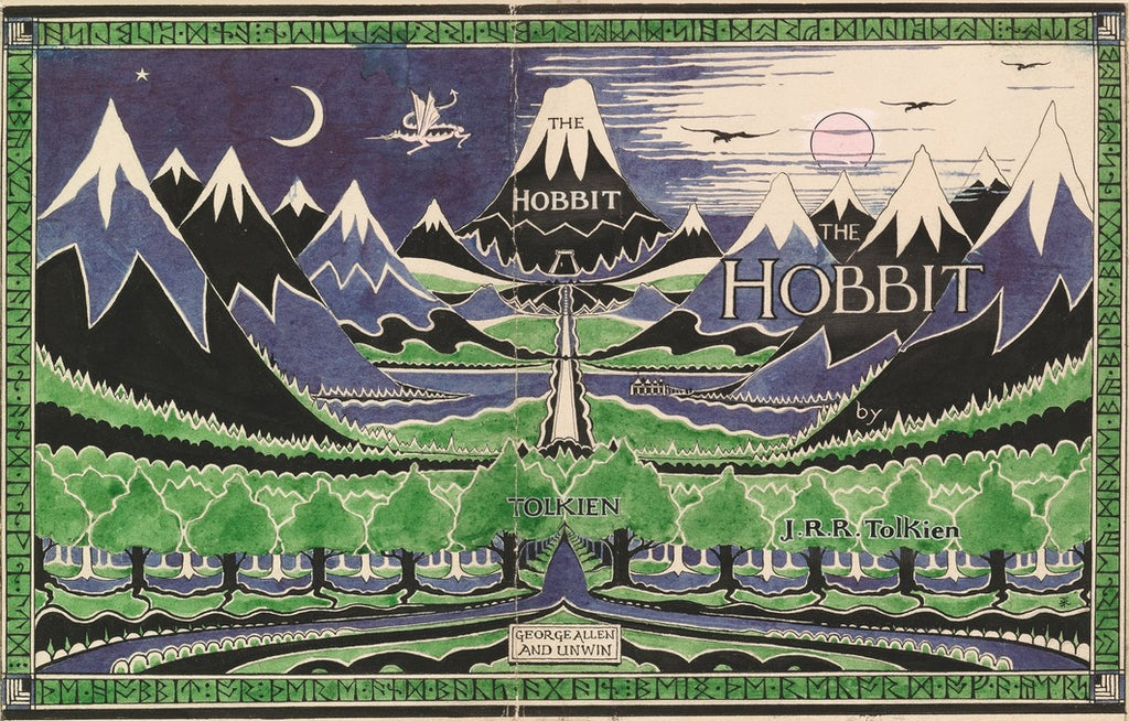 Inside the book cover from Emma's copy of The Hobbit by J.R.R.Tolkien